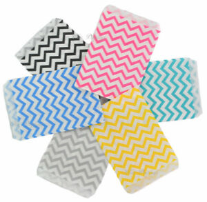 100pc Gift Bags Jewelry Flat Gift Bags Store Bag Chevron Printed Merchandise Bag