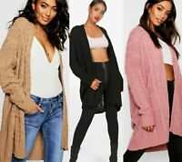 Women's Ladies Oversize Baggy Chunky Cable Knitted Pocket Long Cape Cardigan