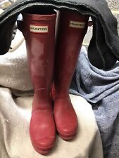 RED UK SIZE 5 PRELOVED CLEAN HUNTER WELLIES And FREE NEW FLEEVE LINERS