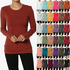 TheMogan Basic Plain Solid O Crew Neck Long Sleeve Tee Cotton Fitted T-Shirts