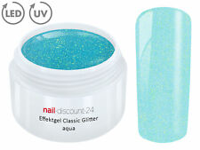 UV LED GEL GLITTER AQUA Glitzer Farbgel Effekt Color NailArt Modellage Blau Tips