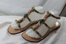 BCBGeneration Womens Sandals Size 7B Gold Embellished  Flat Open Toe G30