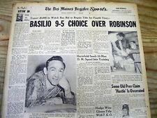 2 1958 Boxing headline newspapers SUGAR RAY ROBINSON defeats CARMEN BASILIO