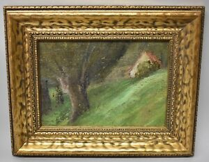 Antique 19th Century Original Oil On Canvas On Board Painting Woodland & Cottage