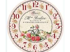 French Vintage Shabby Chic Pink Fleura Wall Clock - New
