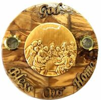 Round Olive wood Last Supper Plaque Hand Made in Bethlehem Holy Land with
