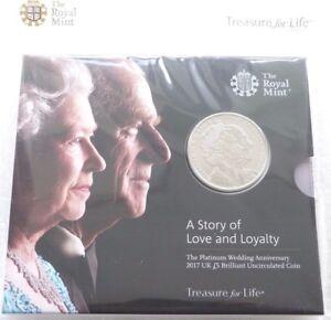 2017 Royal Mint Elizabeth Philip Platinum Wedding £5 Five Pound Coin Pack Sealed