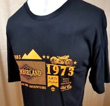 #  TIMBERLAND MEN'S T SHIRT TOP L BLACK ORANGE LOGO ON LOOSE SHORT SLEEVE
