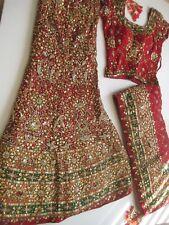 Chaniya Choli S/M Red/Green w/Embroidery-Gold/Rose Gold Beautiful 3 Pcs