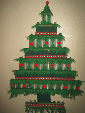 Vtg Large Midcentury Christmas Tree Woven Wall Hanging Yarn Wreath Pom Pom Retro