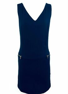 Zara Navy Blue Formal Work Shift Dress, Size M Medium Summer Office Zip Party E1