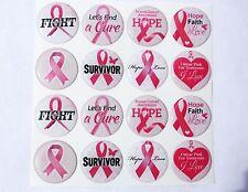 PINK RIBBON BREAST CANCER AWARENESS Epoxy Sticker 1inch round 4 Bottle Cap Craft