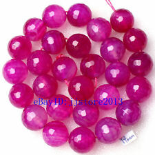 """14mm Natural Rose Red Color Agate Onyx Faceted Round Gems Loose Beads Strand 15"""""""