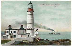 P.C Royal Mail Steamer Passing Corswall Lighthouse Wigtownshire Dumfries PU 1910