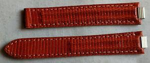 Genuine CARTIER MUST 21 16mm x 14mm Leather Strap Band BROWN ORANGE LIZARD