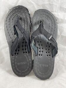 Crocs Melborne Flip Flops Men Sz7 Womans Sz9 Black Very Good