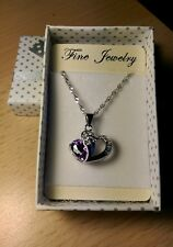 925 silver necklace with Swarovski Element amethyst heart  pendant
