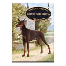 DOBERMAN PINSCHER A House Is Not A Home FRIDGE MAGNET 2 RED