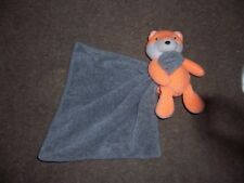 Carters Fox Lovey Gray Security Blanket Plush Orange Infant Baby Toy Rattle