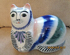 Large Mexican cat folk art pottery hand painted signed Erandi Mexico-D- Tonala