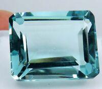 22.05 Ct Natural Ocean Blue Aquamarine Emerald Cut Loose Gemstone D 5134