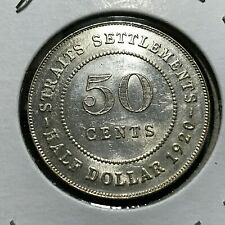 1920 STRAITS SETTLEMENTS SILVER 50 CENTS HIGHER GRADE COIN