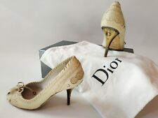 Christian Dior Cream Leather Collectable RARE Vintage Pumps Heel Shoes sz 37 UK4