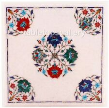 """18"""" Marble Square Coffee Table Top Multi Stone Floral Inlay Outdoor Decors W517"""