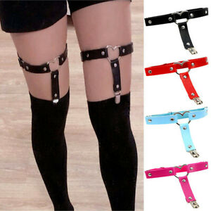Sexy Women Elastic Garter Belt Harness Punk Gothic Leather Rivet Foot Leg Ring