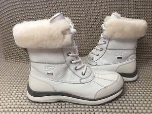 UGG Adirondack III Patent White Waterproof Leather Short Snow Boot Size 7 Women