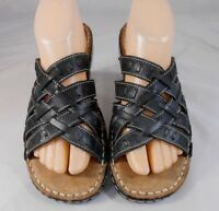 Naturalizer CLOVE Womens Strappy Sandals Size 8 M Leather Slip On Black Beige