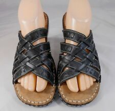 3b91674aba65 Naturalizer CLOVE Womens Strappy Sandals Size 8 M Leather Slip On Black  Beige