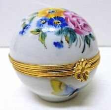 Limoges France Round Trinket Box - Artoria Limoges with Flowers & Butterflies