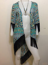 NEW AZTEC TIBAL LONG FRINGE KIMONO CARDIGAN BOHO BOHEMIAN ANTHROPOLOGIE XSMALL