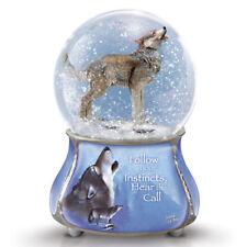 Grey Guardian Wolf Glitter Snow Dome / Water Globe Eddie Lepage