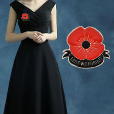 Enamel Red Poppy Flower Brooches Remembrance Banquet Badge Brooch Pin Breastpin