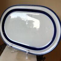 """14"""" Oval Serving Platter Noritake Primastone Stoneware FJORD  Blue Band #8951"""