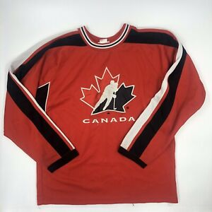 Canada Canadian Youth Boys Hockey Jersey Long Sleeve Red Size 14/16 L