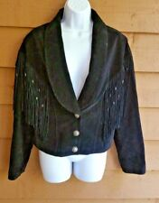 LADIES JACKET BLACK SUEDE SNAP FRINGE BEAD CONCHO LINED SIZE L SOUTHWEST NATIVE