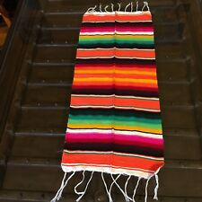 "Satillo or Serape Acrylic Mexican Blanket 4 oz 15 3/4"" W by 35"" Orange XS"