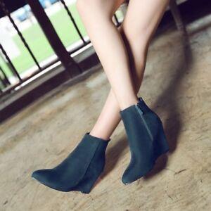 Elegant Ladies Winter Pointy Toe Velvet High Wedge Heel Ankle Boots Court Shoes