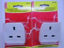 TRAVEL PLUG ADAPTOR  x  2 -CONVERTS UK PLUGS FOR USE in USA,NZ,AUS +JAPAN