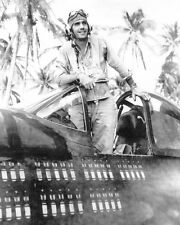 WWII B&W Photo US F4U Corsair Pilot Pacific  WW2 World War Two US Marines / 1027