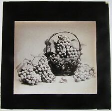 Rare Magic lantern slide of Grapes In A Woven Basket c 1890 Fruit