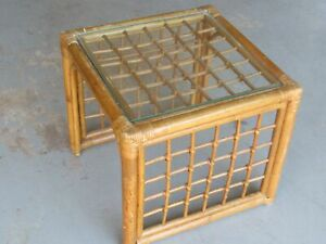 """Hollywood Regency Vintage Bamboo Rattan 18"""" End Table with Glass Top"""