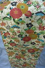 "Batik-style Cream Floral Red Kiku Vintage Japanese Kimono Wool Quilt Fabric 43"""