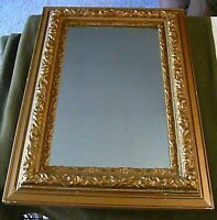 1800'S VINTAGE CARVED MIRROR ORNATE GOLD GILT WOOD & GESSO FRAMED, BEAUTIFUL