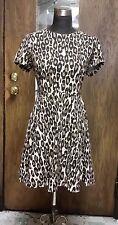 Kate Spade-Autumn Leopard Fit Flare Shirt Dress SZ 8 Animal Career Knit