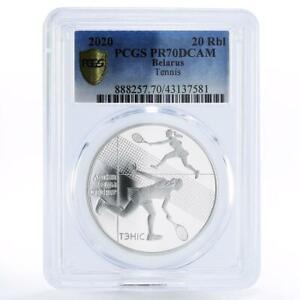 Belarus 20 rubles Summer Sports Tennis PR70 PCGS proof silver coin 2020