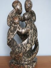 ABSTRACT SPECKLED SOAPSTONE SCULPTURE FAMILY GROUP OF FOUR 12in
